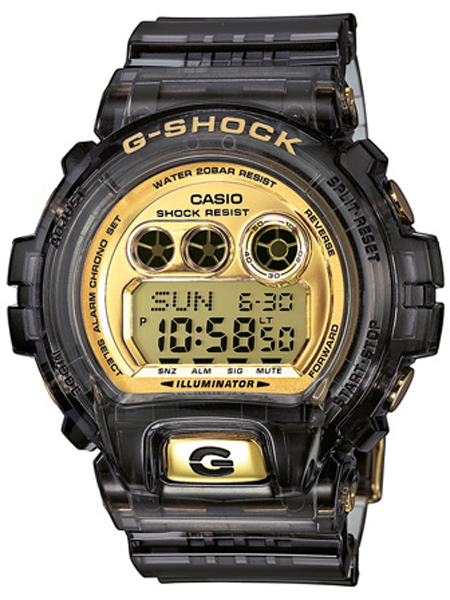 CASIO G-SHOCK MED FLASH FOR ALARM GlAS SORT MED GULD UR, GD-X6900FB-8ER