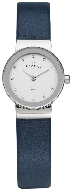 358XSSLN SKAGEN DAMEUR, STEEL LEATHER