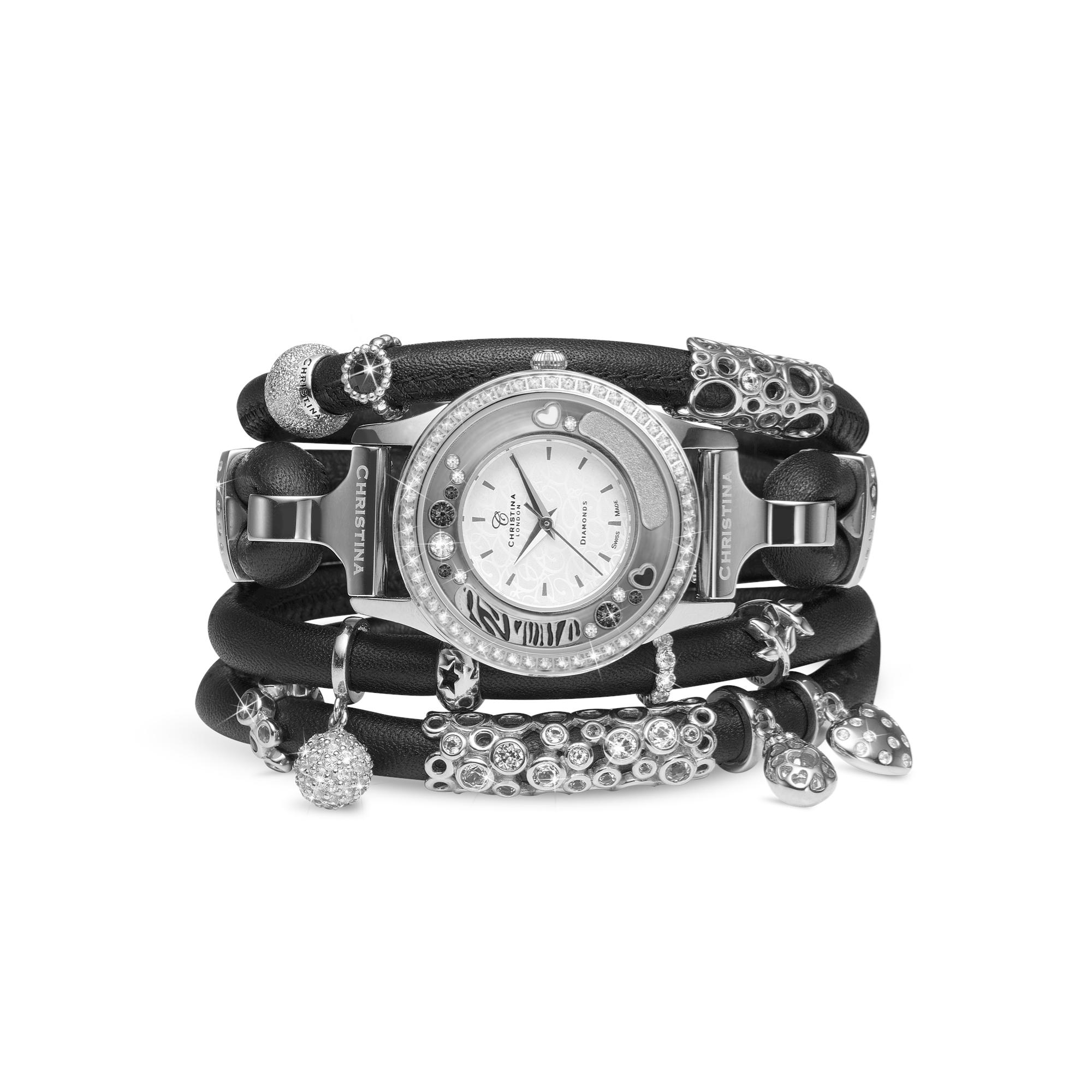 954af3db5d1 300SWBL-newblack-collect Collect ur med læderremme og charms de ...