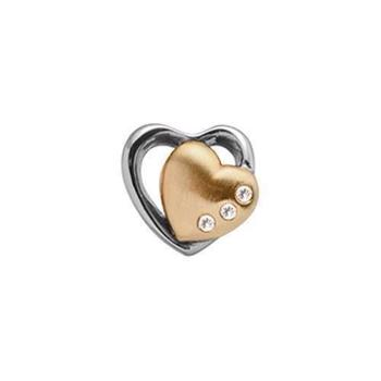 Christina Collect Topaz 2-Hearts forgyldt charm