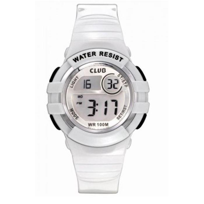 e159aa783ba A47101S8E, hvidt Gummi Club Time digital ur fra Club Time