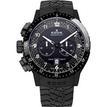 fra Edox IP sort matteret rustfri stål Chronorally 1 Swiss Quartz med chronograph Herre ur