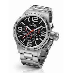 sort 45 mm Quartz med chronograph Herre ur fra TW Steel Canteen