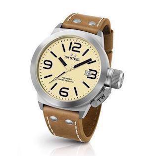 cream 50 mm Quartz Herre ur fra TW Steel Canteen