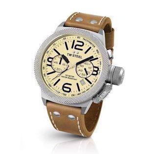 cream 50 mm Quartz med chronograph Herre ur fra TW Steel Canteen