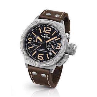 sort 50 mm Quartz med chronograph Herre ur fra TW Steel Canteen