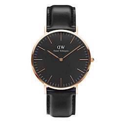rosa forgyldt Classic Black Sheffield quartz Herre ur fra Daniel Wellington