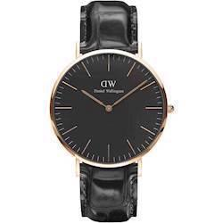 rosa forgyldt Classic Black Reading quartz Herre ur fra Daniel Wellington