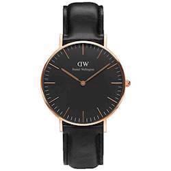 rosa forgyldt Classic Black Sheffield quartz 36 mm  Dame ur fra Daniel Wellington