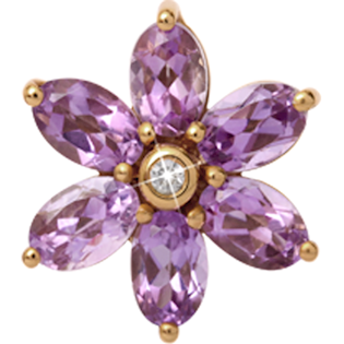 Christina Collect Big Amethyst Flower forgyldt charm
