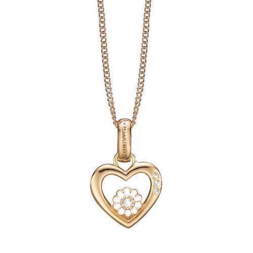 625019085b8 ... forgyldt Christina sølv halskæder smykke fra Christina Collect. Køb  dine åbent hjerte med lille marguerite med hvid emalje inden i, samt tre  hvide