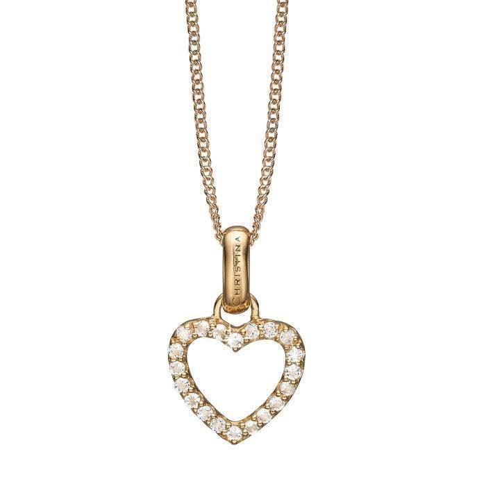 5f379d7db58 ... forgyldt Christina sølv halskæder smykke fra Christina Collect. Køb  dine åbent hjerte med glitrende topaz hele vejen rundt fra Christina  smykker hos Ur-